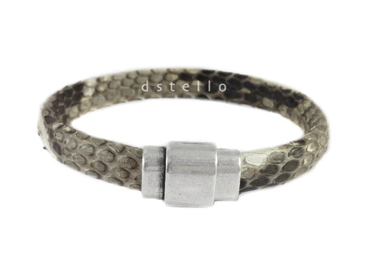 Snake skin python bracelet with antique silver magnetic clasp