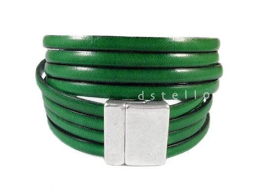 Multi stranded leather bracelet - Stackable leather cuff for women