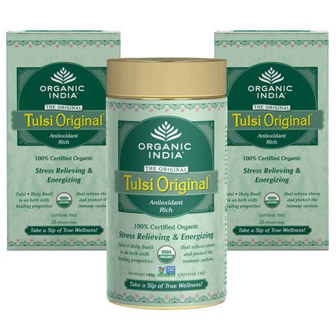 Organic India Combo of Tulsi Original 100 Gram (1 Tin)+ 25 Tea Bag (2 Sets)