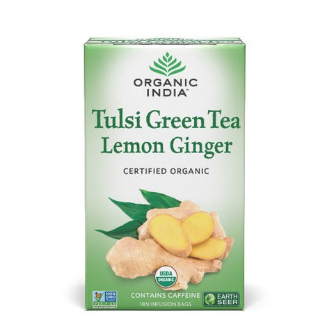 Organic India Tulsi Green Tea Lemon Ginger-18 Tea Bags