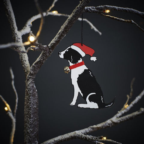 Black & White Springer Spaniel Christmas Tree Decoration