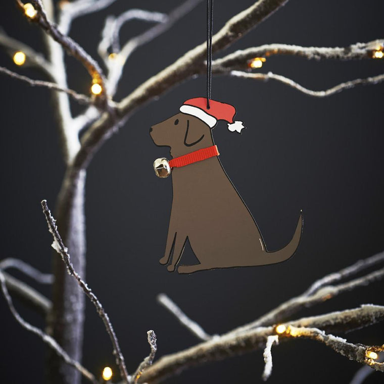 Chocolate Labrador Christmas Tree Decoration