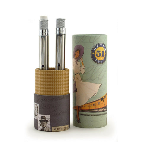 Retro 51 Tornado Rollerball and Pencil Set - Stainless