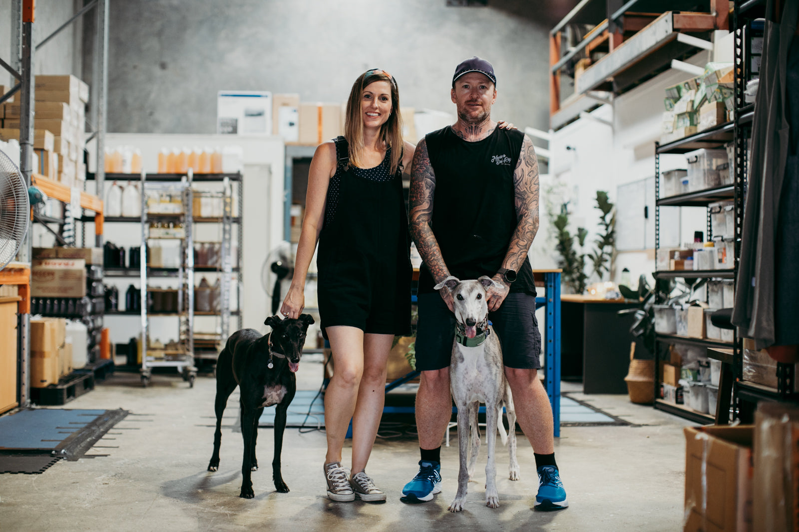 Jess and Brad with their Greyhounds Luke and Rain