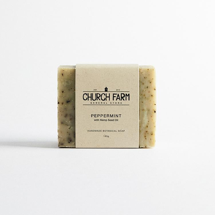 Peppermint with Hemp Seed Oil Botanical Soap by Church Farm General Store