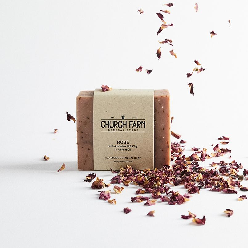 Rose with Australian Pink Clay & Almond Oil Botanical Soap by Church Farm General Store