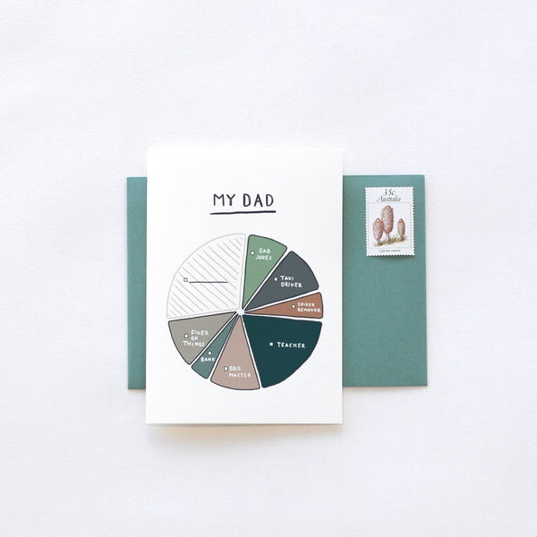 Father's Day My Dad Pie Chart Greeting Card by In The Daylight
