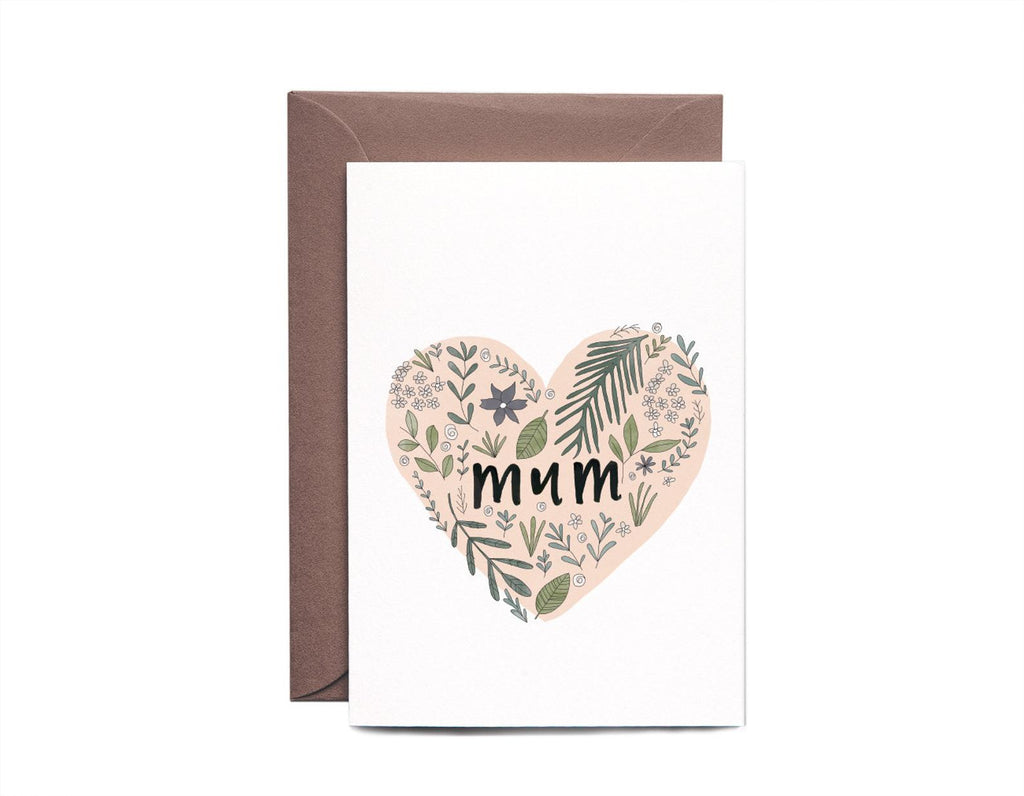 Mum Botanical Heart Greeting Card by In The Daylight