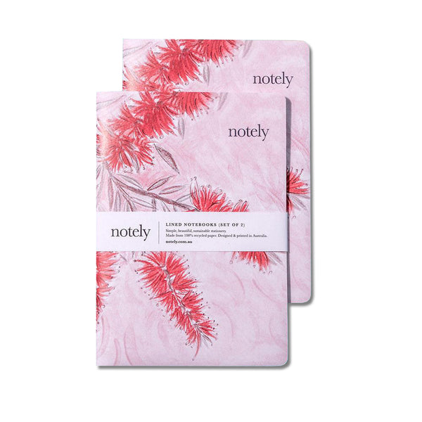 Bottle Blush – A5 Notebook (Set of 2) by NOTELY