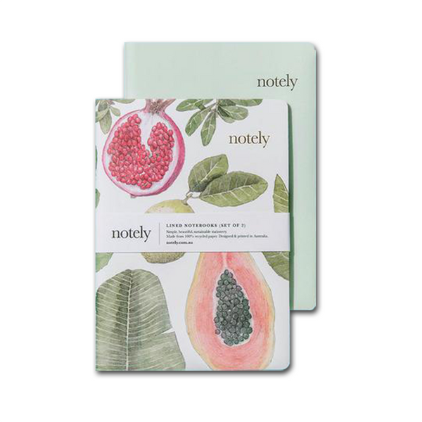 Perfectly Picked & Minty Leaf – A5 Notebook (Set of 2) by NOTELY