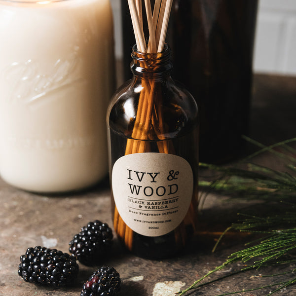 Ivy & Wood Black Raspberry & Vanilla Scented Reed Diffuser Australian Made