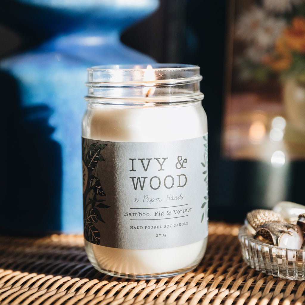 Botanical: Bamboo, Fig & Vetiver Soy Candle - Ivy & Wood - Australian Made