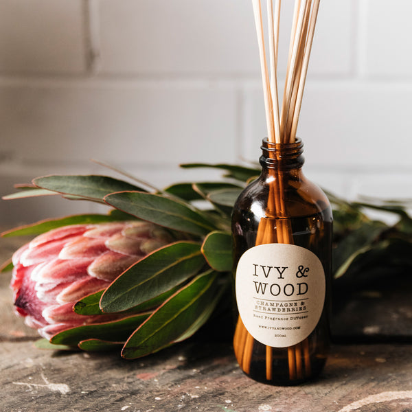 Champagne & Strawberries Reed Diffuser - Ivy & Wood - Australian Made