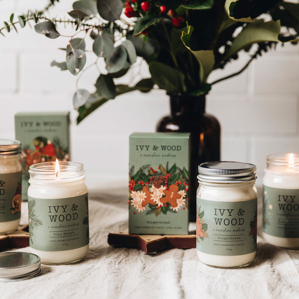 Christmas Pudding Limited Edition Mason Jar Soy Candle - Ivy & Wood - Australian Made