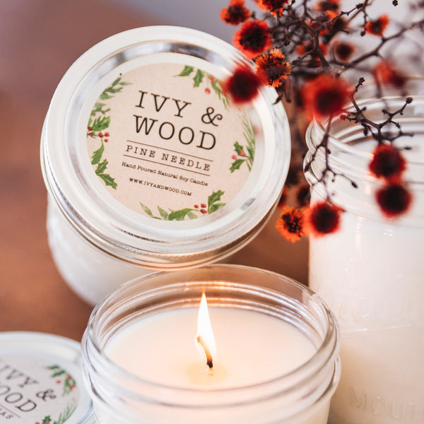 Pine Needle: Christmas Limited Edition Mason Jar Soy Candle - Ivy & Wood - Australian Made