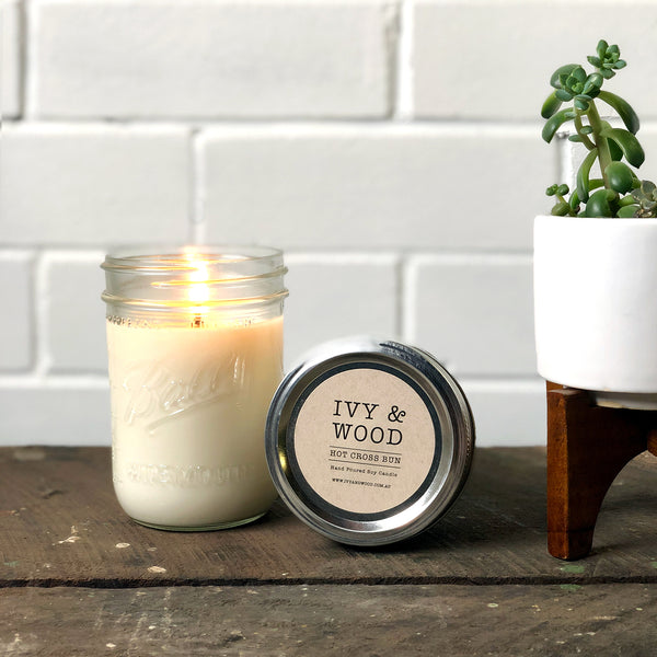 Hot Cross Bun: Easter Limited Edition Soy Candle - Ivy & Wood - Australian Made