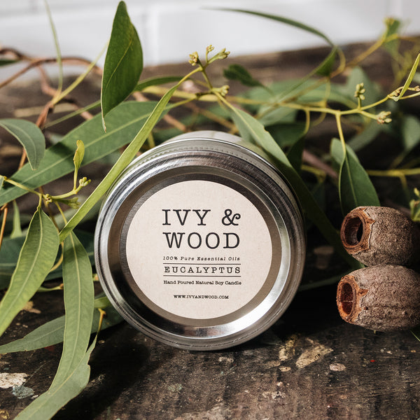 Eucalyptus Pure Essential Oil Mason Jar Soy Candle by Ivy & Wood Australia