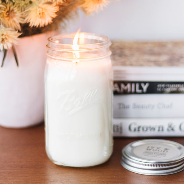 Australian Blue Cypress & Jasmine Mason Jar Soy Candle - Ivy & Wood - Australian Made