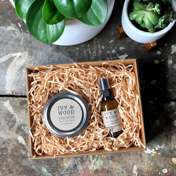 Relax Gift Pack - Small Candle & Mini Room Spray - Ivy & Wood - Australian Made