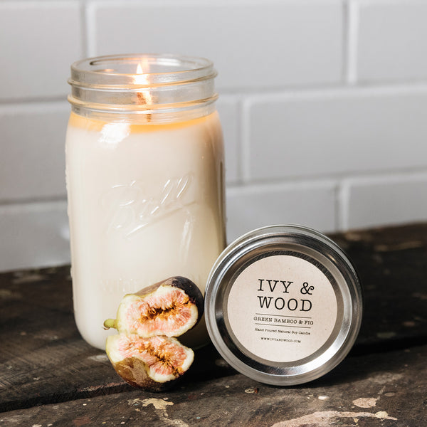 Green Bamboo & Fig Scented Soy Candle - Ivy & Wood Australia