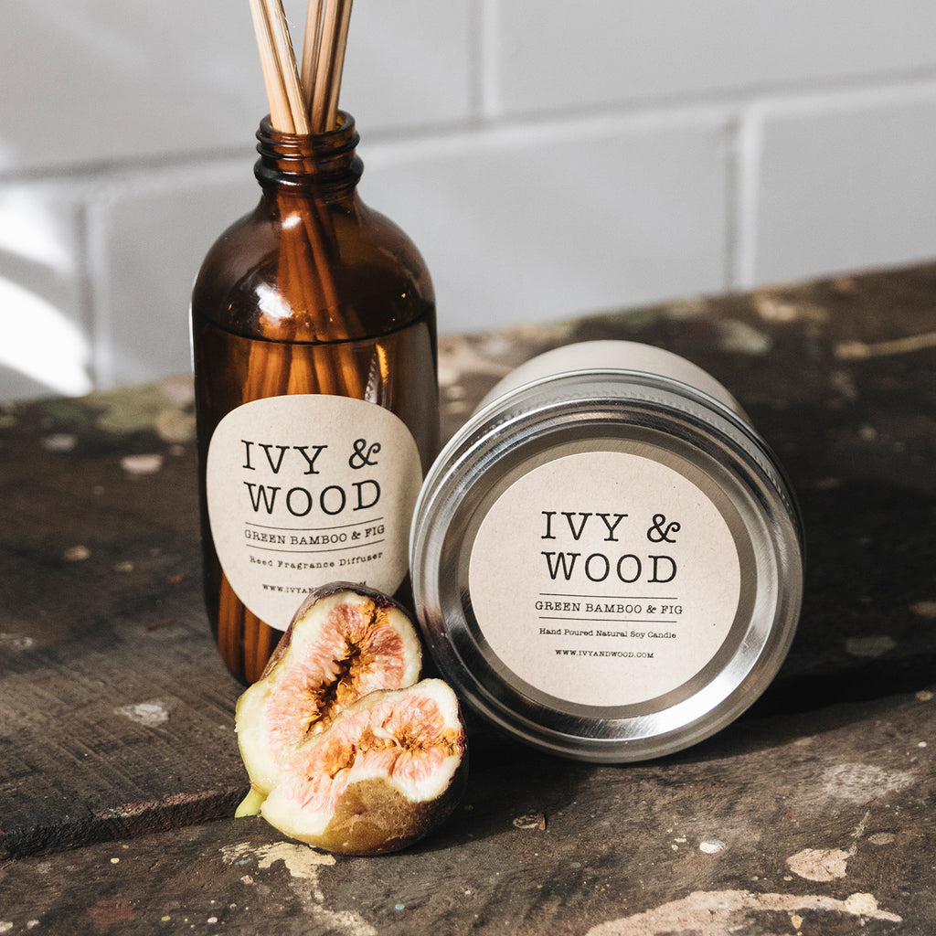 Green Bamboo & Fig Reed Diffuser and Soy Candle - Ivy & Wood Australia