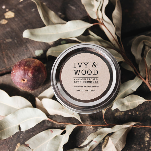 Kakadu Plum & Bush Cucumber Mason Jar Soy Candle - Ivy & Wood - Australian Made