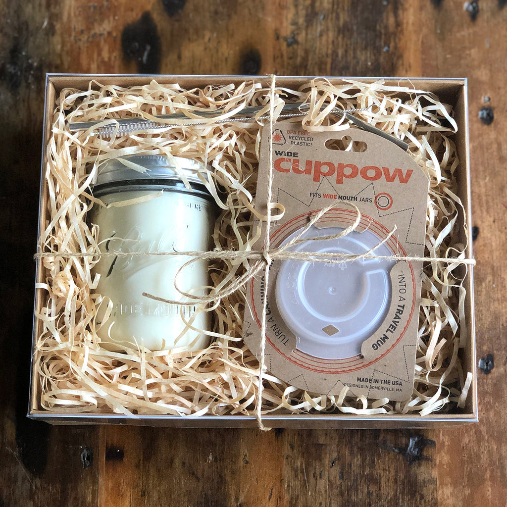 Eco Gift Pack - Large Candle, Drinking Lid & Straw - Ivy & Wood - Australian Made
