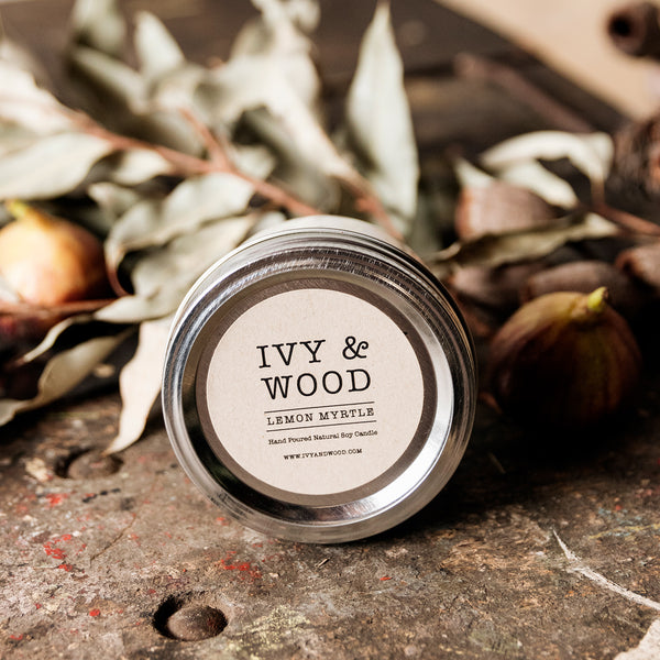 Lemon Myrtle Mason Jar Soy Candle - Ivy & Wood - Australian Made