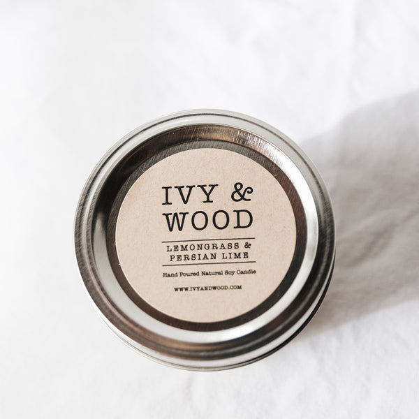 Lemongrass & Persian Lime Scented Mason Jar Soy Candle - Ivy & Wood Australia
