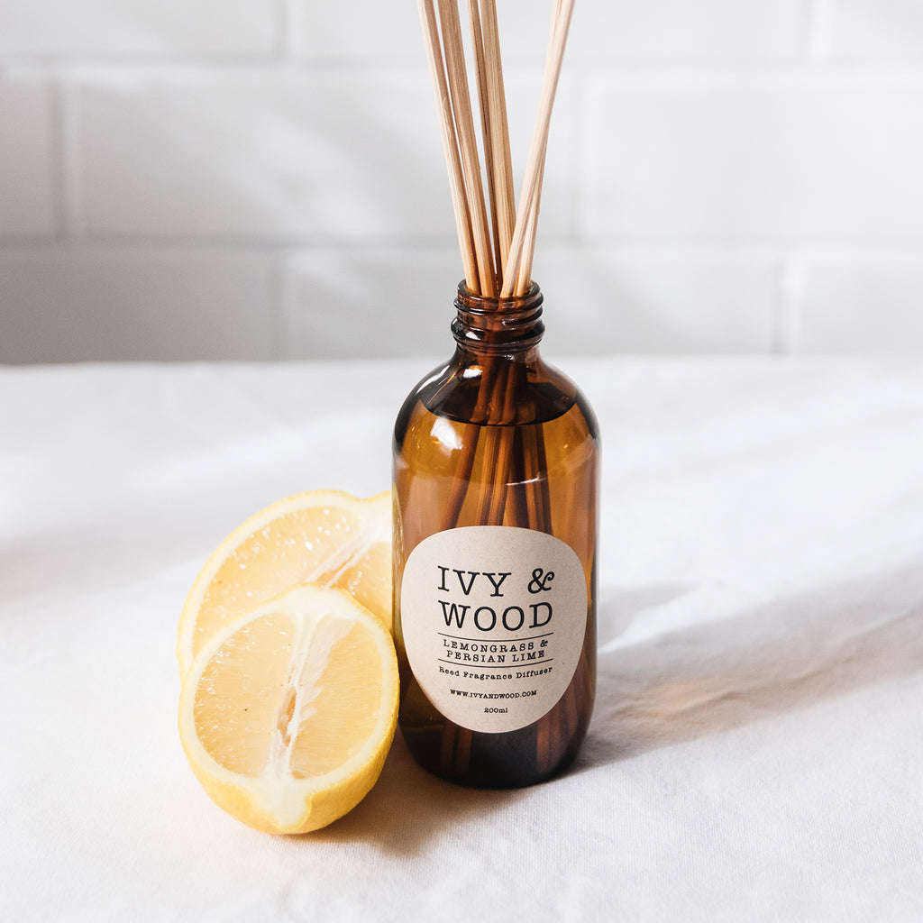 Lemongrass & Persian Lime Scented Reed Diffuser - Ivy & Wood Australia