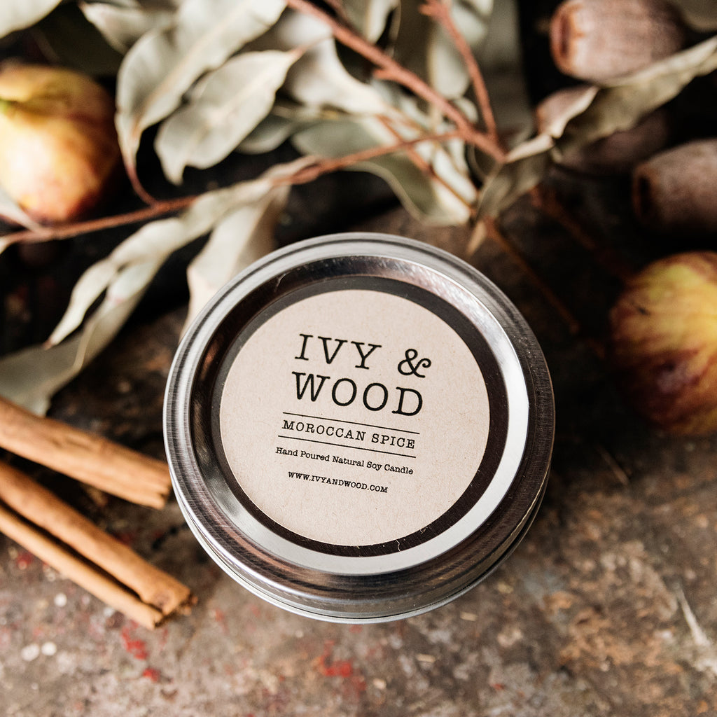 Moroccan Spice Mason Jar Soy Candle - Ivy & Wood - Australian Made