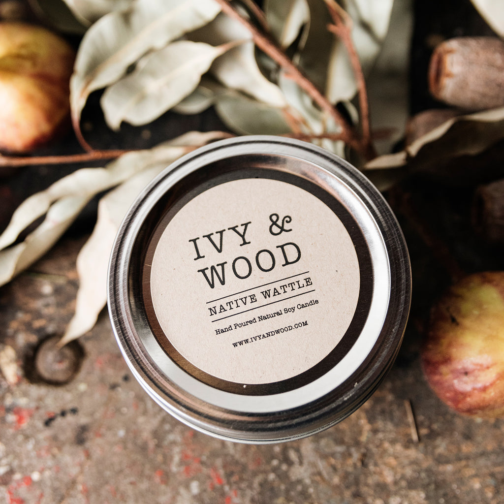 Native Wattle Mason Jar Soy Candle - Ivy & Wood Australia