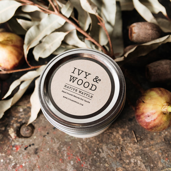 Limited Edition: Native Wattle Mason Jar Soy Candle - Ivy & Wood - Australian Made