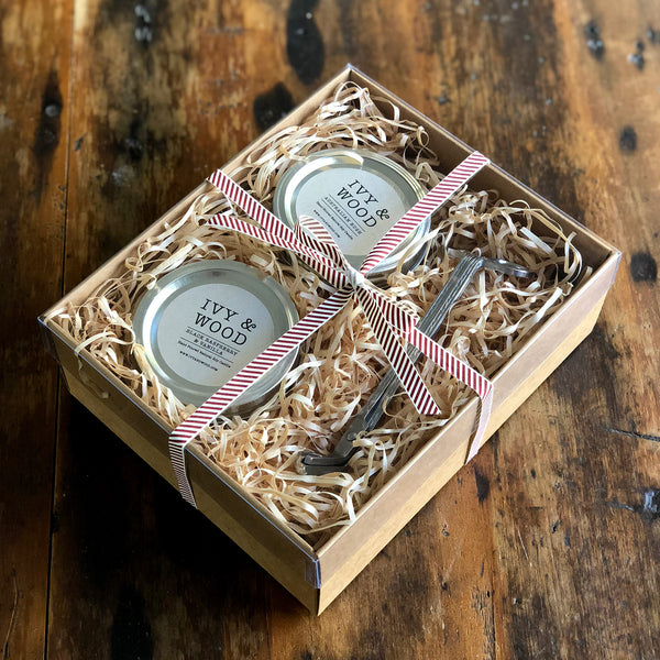 Candle Lovers Gift Pack - Two Small Candles & Wick Trimmer