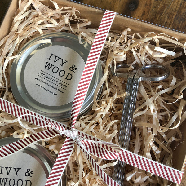 Candle Lovers Gift Pack - Two Small Candles & Wick Trimmer - Ivy & Wood - Australian Made