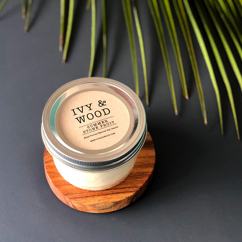 Limited Edition: Summer Stone Fruit Mason Jar Soy Candle - Ivy & Wood - Australian Made