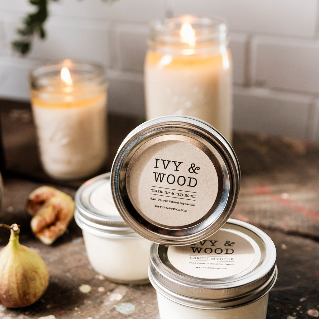 Tigerlily & Patchouli Mason Jar Soy Candle - Ivy & Wood - Australian Made