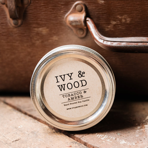 Tobacco & Amber Scented Mason Jar Soy Candle - Ivy & Wood Australia