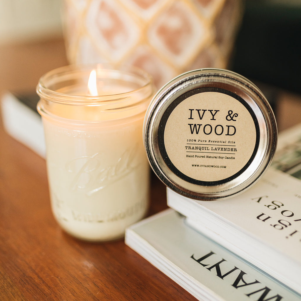 Tranquil Lavender Pure Essential Oil Soy Candle - Ivy & Wood - Australian Made