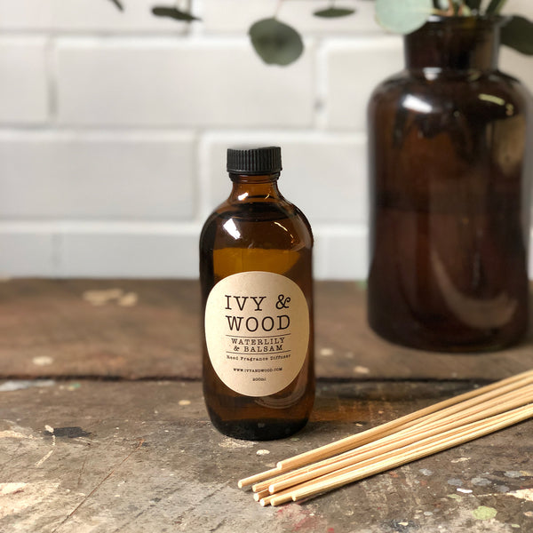 Waterlily & Balsam Reed Diffuser - Ivy & Wood
