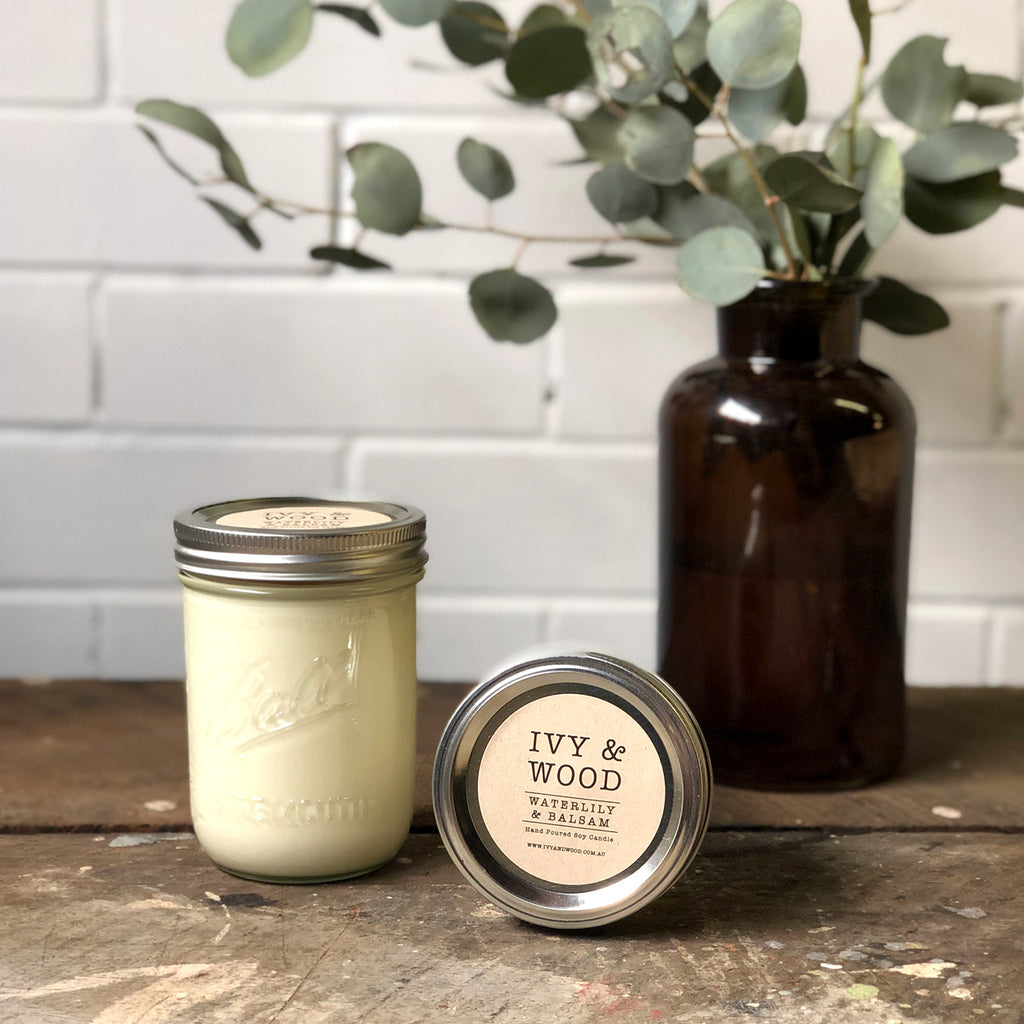 Limited Edition: Waterlily & Balsam Mason Jar Soy Candle - Ivy & Wood - Australian Made