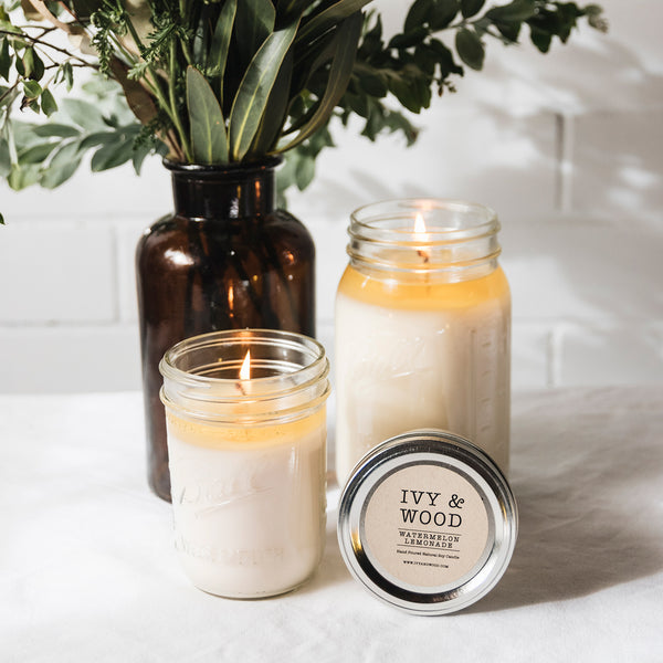 Watermelon Lemonade Mason Jar Soy Candle - Ivy & Wood - Australian Made
