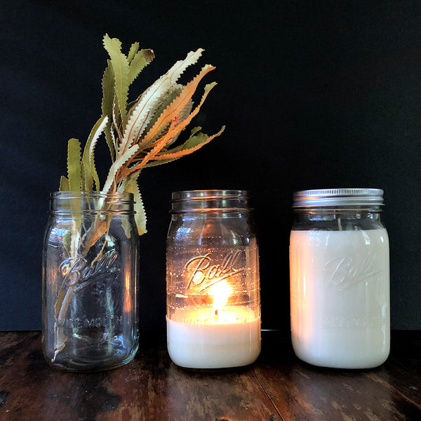 Sandalwood & Cedar Mason Jar Soy Candle - Ivy & Wood - Australian Made