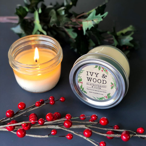 Blackcurrant & Plum: Christmas Limited Edition Mason Jar Soy Candle - Ivy & Wood - Australian Made