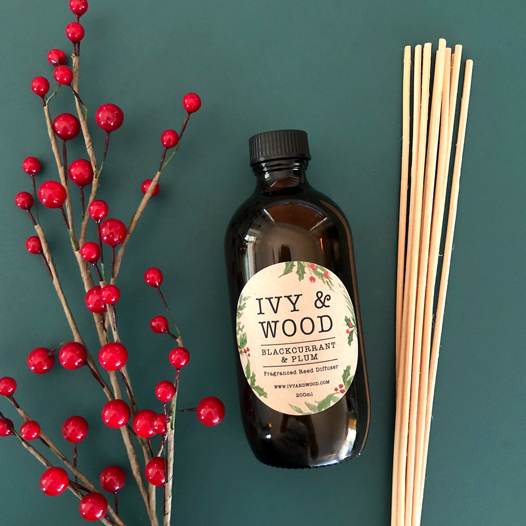Blackcurrant & Plum Limited Edition Christmas Reed Diffuser - Ivy & Wood - Australian Made