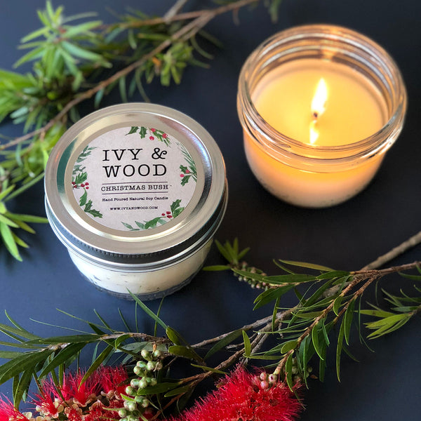 Christmas Bush: Christmas Limited Edition Mason Jar Soy Candle - Ivy & Wood - Australian Made