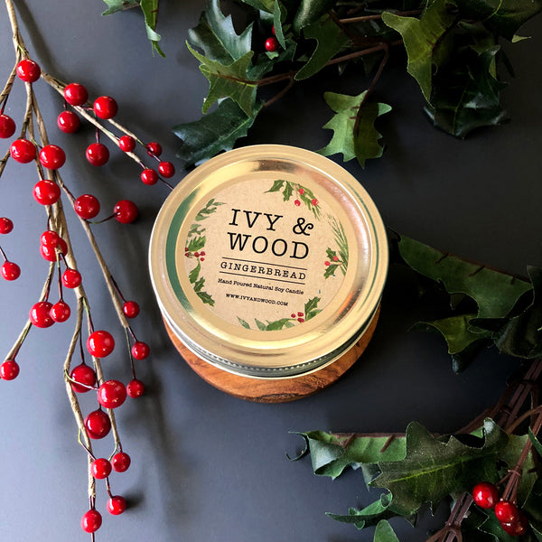 Gingerbread: Christmas Limited Edition Mason Jar Soy Candle - Ivy & Wood - Australian Made