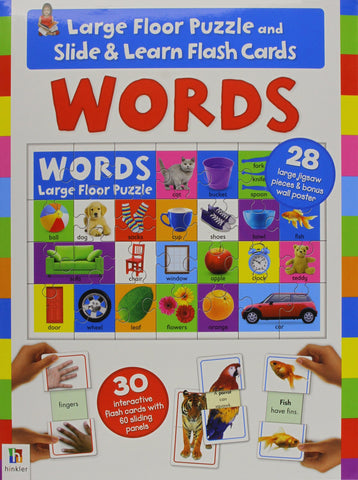 Large Floor Puzzle And Slide & Learn Flashcards Words