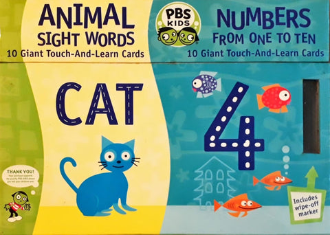 PBS Kids Touch & Learn Cards Animal Sight Words & Numbers