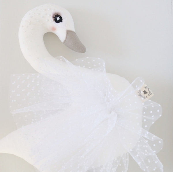 Hand-Applied Pearl & Flocked Tulle Stella Swan